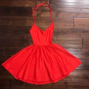 Bright red skater dress